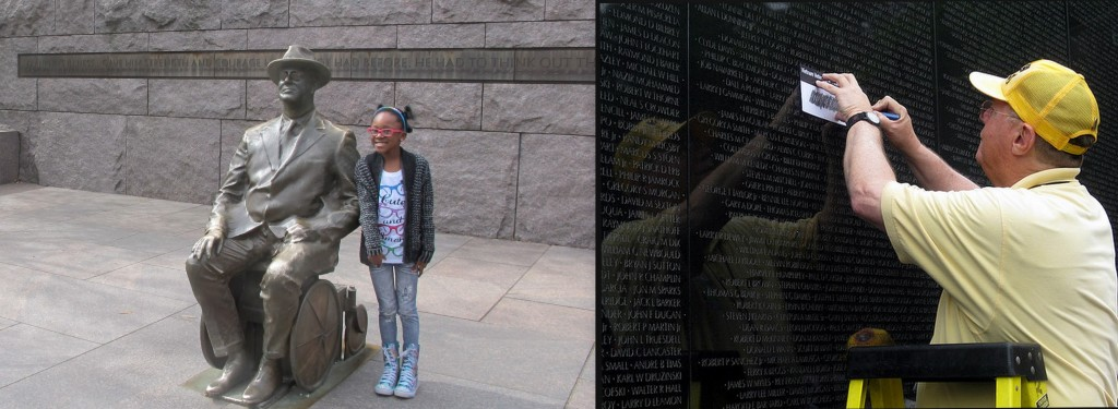FDR Memorial (L) and Park Service Volunteer at Vietnam Veterans Memorial (R)